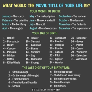 What Would the Movie Title of Your Life Be? quiz